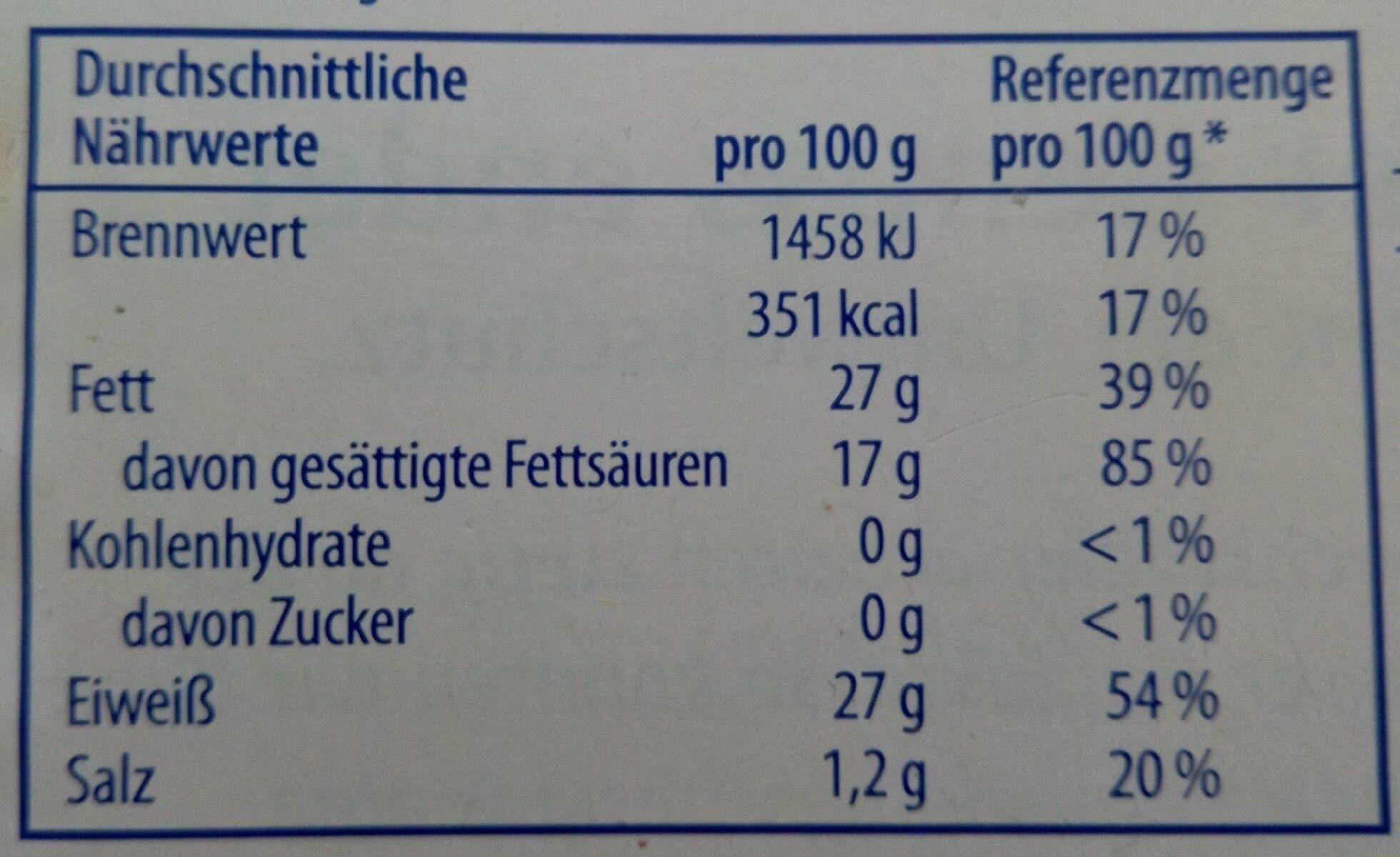 Heinrichsthaler Elbländer Natur - Nutrition facts - de