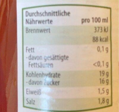 Gewürz Ketchup - Voedingswaarden - de