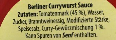 Berliner Currywurst Sauce - Ingredients