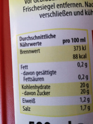 Berliner Currywurst Sauce - Nutrition facts
