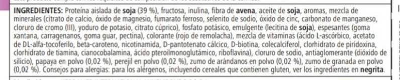 Fórmula 1 sabor a frambuesa y arándanos - Ingredients - es