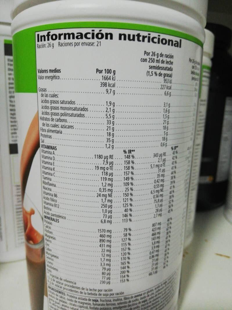 Alimento equilibrado sabor a chocolate - Nutrition facts