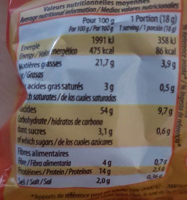 Snacks cacahuète - Voedingswaarden - fr