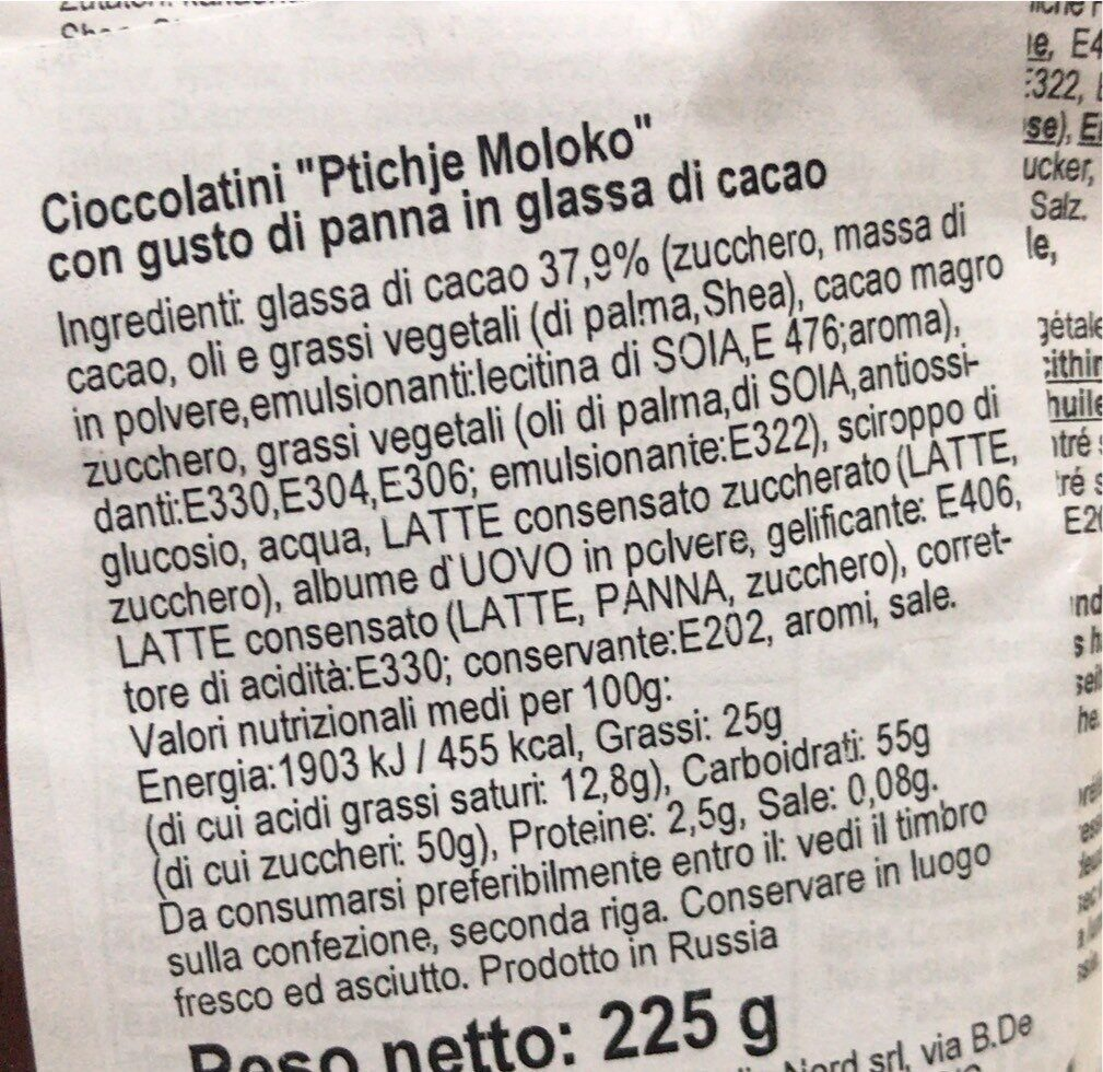 Rotfront Ptichje Moloko Chocolates 225g - Informations nutritionnelles - fr