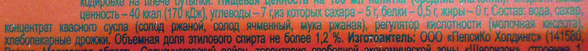 Квас «Русский дар» Традиционный - Ingrédients