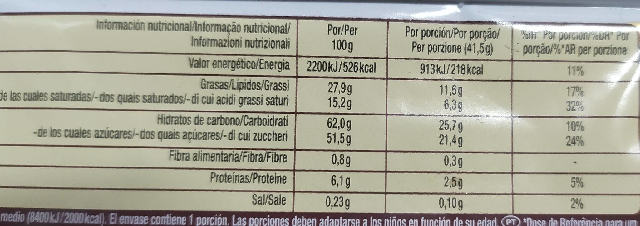 Kitkat gold - Información nutricional - es