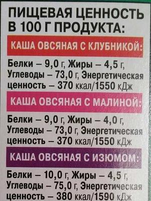 Каша овсяная ассорти: с клубникой, с малиной, с изюмом - Informations nutritionnelles - ru