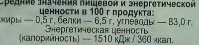 Рис Краснодарский круглозерный - Informations nutritionnelles - ru