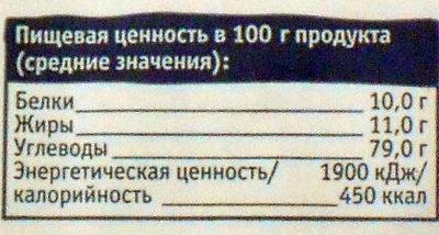 Сухари с ванилином - Пищевая и энергетическая ценность - ru