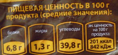 Хлеб бородинский заварной с кориандром - Пищевая и энергетическая ценность