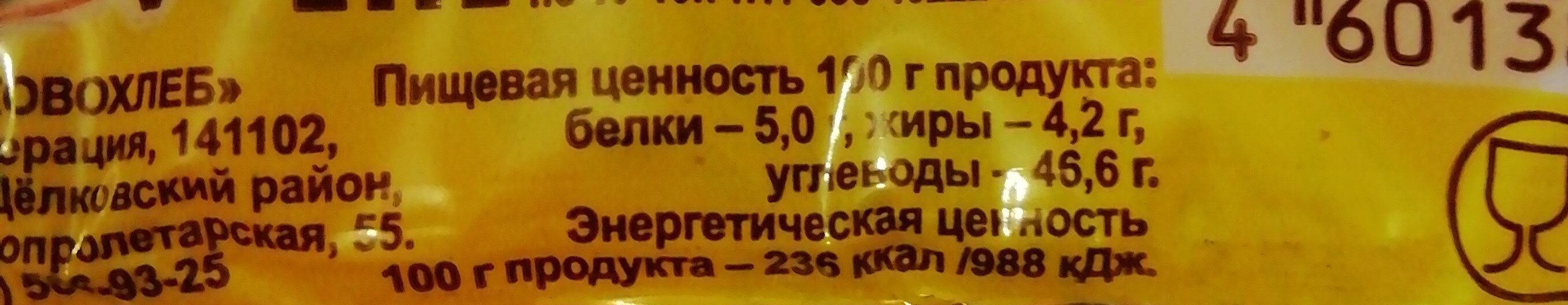 парижская бриошь - Пищевая и энергетическая ценность - ru