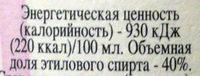 Водка Архангельская Северная выдержка - Nutrition facts - ru