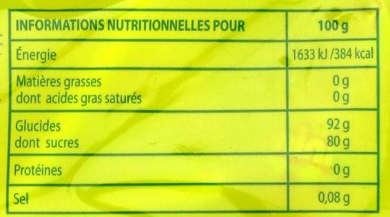 Mini-sucettes acides aux goûts fruits - Informations nutritionnelles - fr