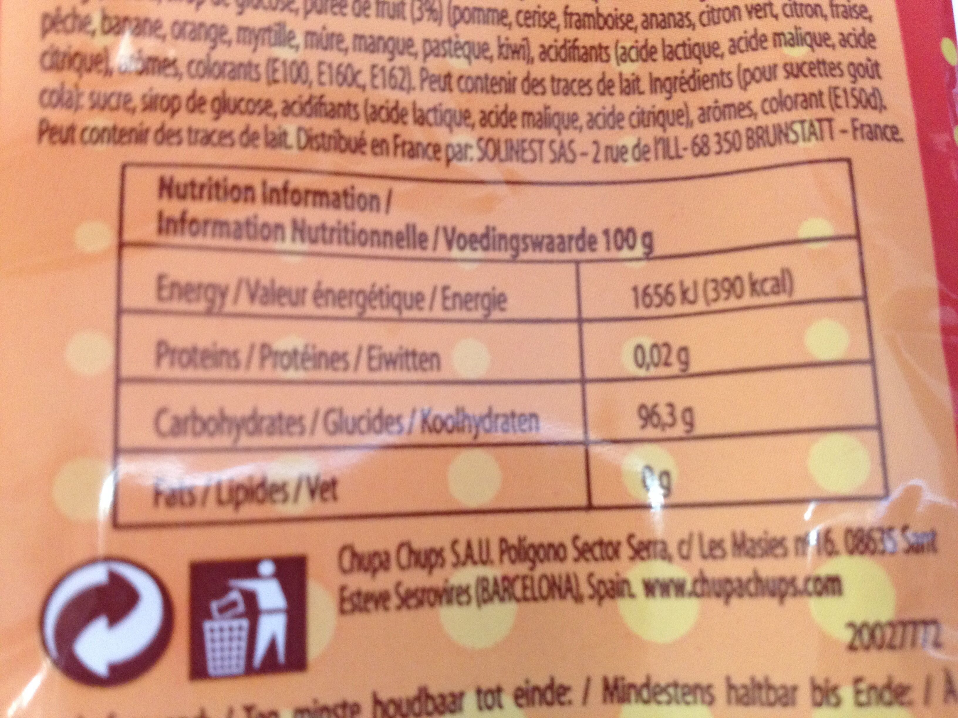 Mini chupa chups - Ingredients
