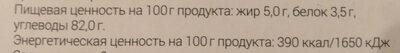 Кос-халва с изюмом - Voedingswaarden - ru