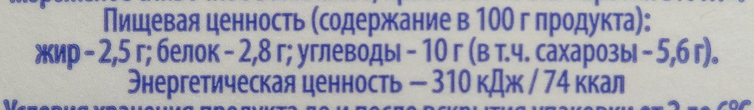 """Коктейль молочный пастеризованный """"Ванильное мороженое"""" - Informations nutritionnelles"""