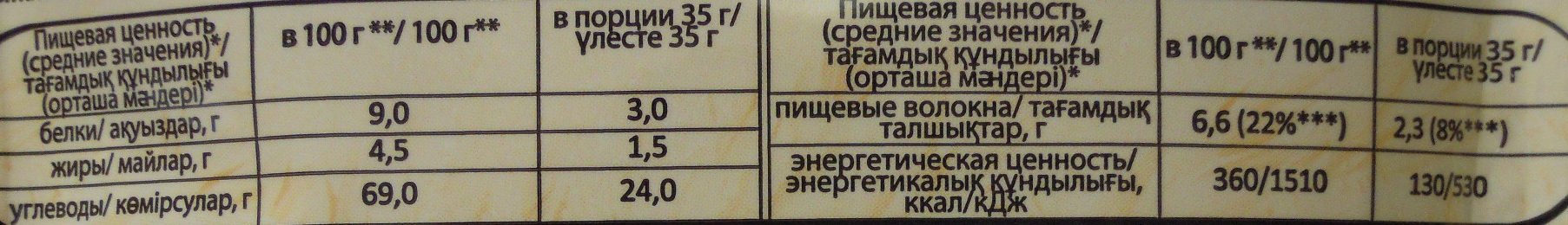 Моментальная овсяная каша «Геркулес®» с яблоками - Voedingswaarden - ru
