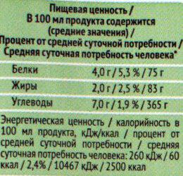 Молоко соевое - Nutrition facts