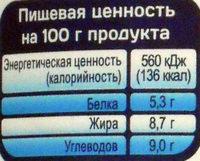 Молоко стерилизованное концентрированное без сахара, массовая доля жира 8,7% - Voedingswaarden - ru