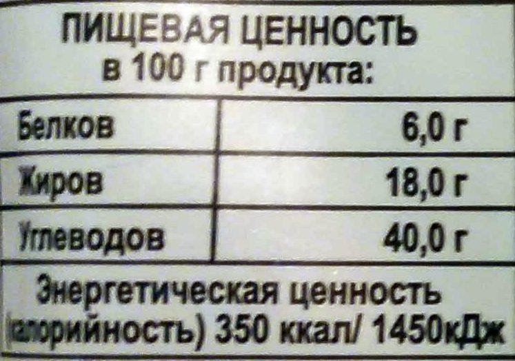 Тесто слоёное дрожжевое специальное - Nutrition facts - ru