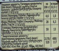 Темный шоколад «Российский» - Nutrition facts - ru