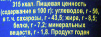 Молоко цельное сгущенное с сахаром - Informations nutritionnelles - ru