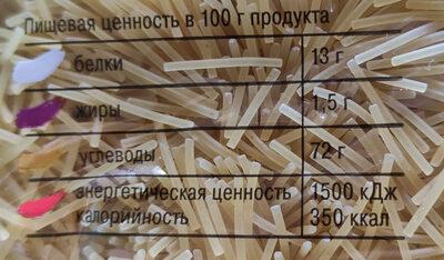 Вермишель лёгкая - Nutrition facts - ru