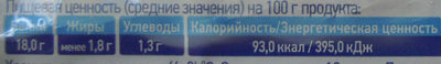 Творог обезжиренный ГОСТ 31453-2013 - Voedingswaarden - ru