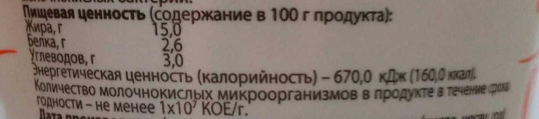 Сметана 15% - Nährwertangaben - ru