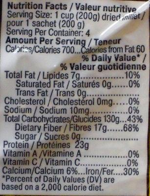 Пшено шлифованное - Nutrition facts - en