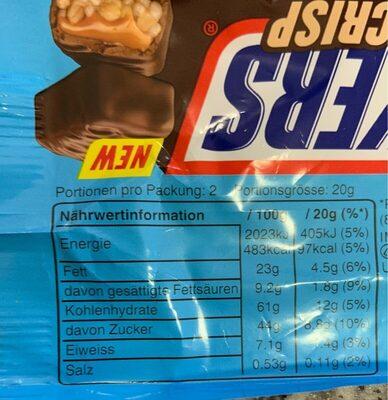 Snickers Crisp - Nährwertangaben - de