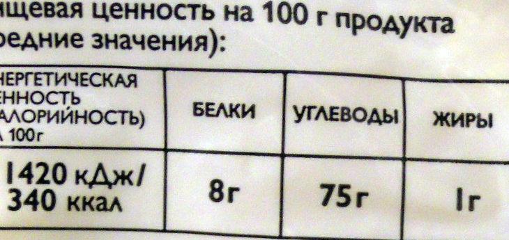Кукурузная крупа - Voedingswaarden - ru