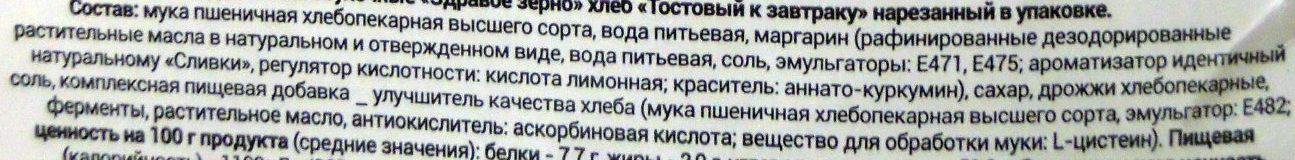 Хлеб тостовый к завтраку - Ingredients - ru