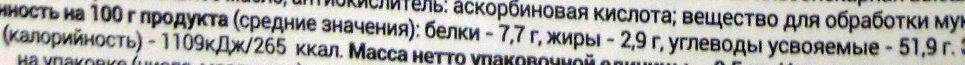 Хлеб тостовый к завтраку - Nutrition facts - ru