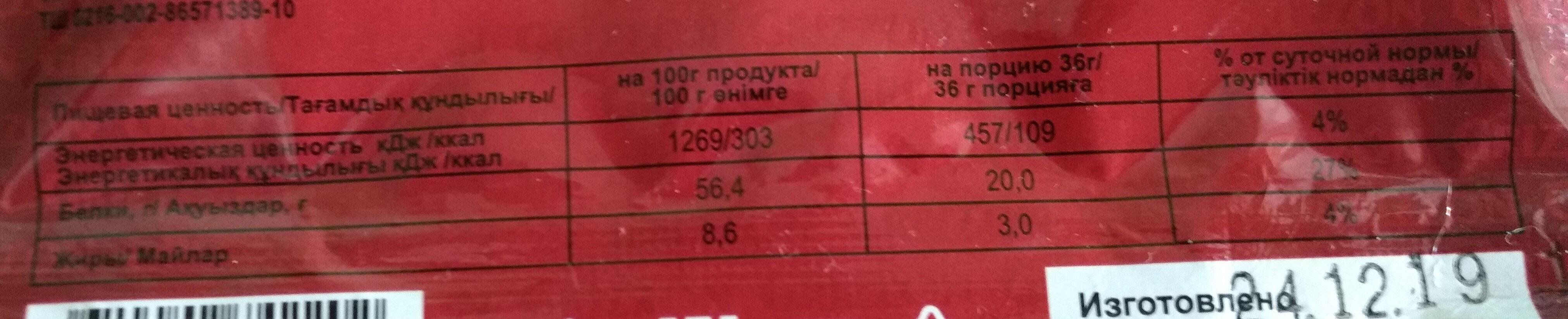 конина сушеная оригинальная - Informations nutritionnelles - ru