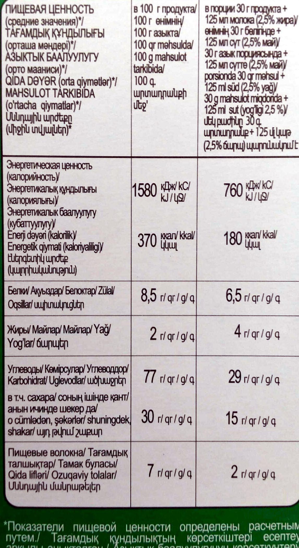 Гречневые шарики с натуральным медом - Voedingswaarden - ru