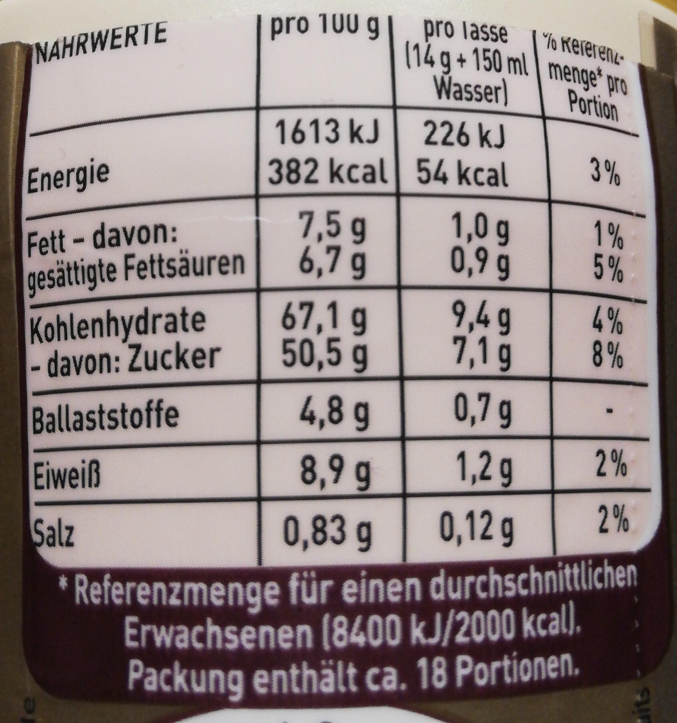 Cappuccino Cremig Zart - Nährwertangaben - de