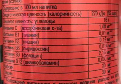 Red Devil - Informations nutritionnelles