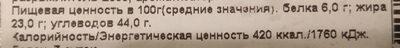 "Кекс ""Сухарный"" - Informations nutritionnelles - ru"