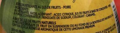 Limonade Poire à base d'eau de montagne - Ingrédients - fr