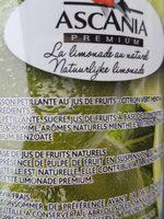 Limonade Citron Vert Et Menthe Ascania - Ingrédients - fr