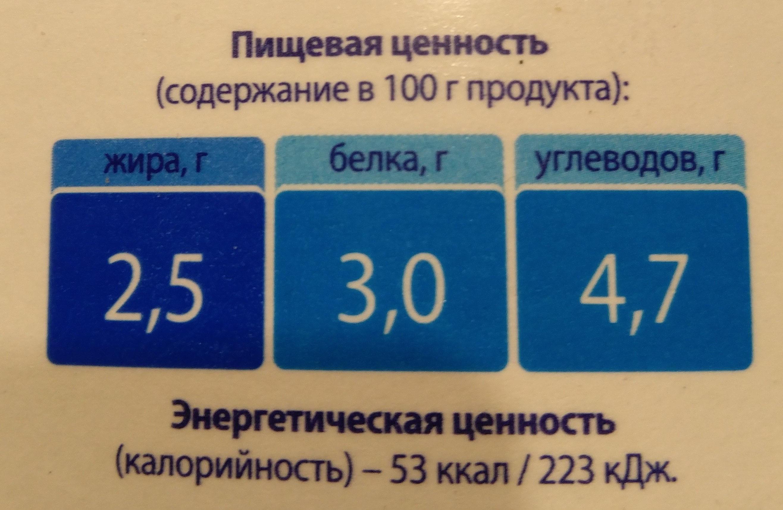 Молоко пастеризованное 2,5% - Voedingswaarden - ru