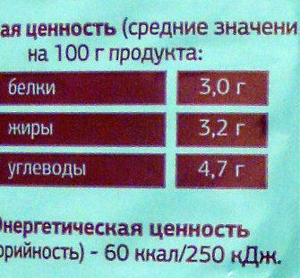 Молоко питьевое пастеризованное 3,2% - Informations nutritionnelles - ru