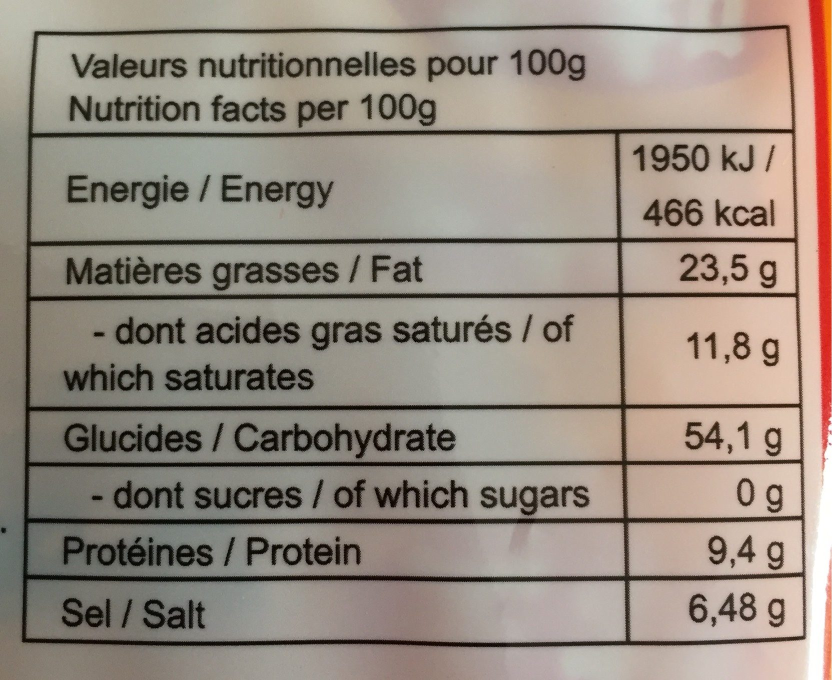 Nouilles chinoise - Nutrition facts