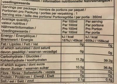 Jus de fruit goût pêche - Valori nutrizionali - fr