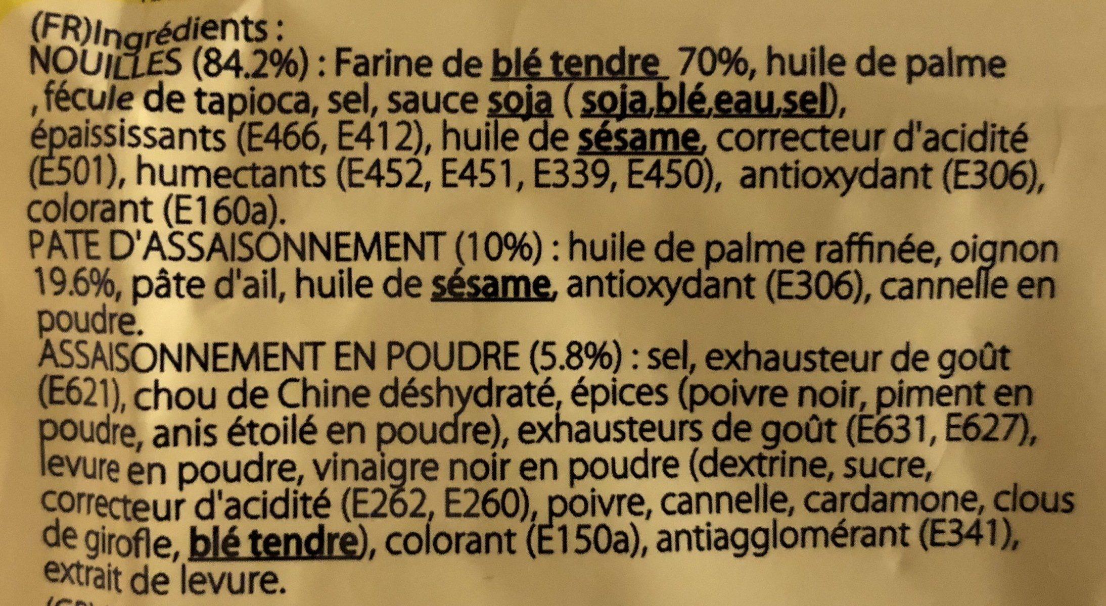 Soupe de nouilles instantanées saveur oignon - Ingrédients