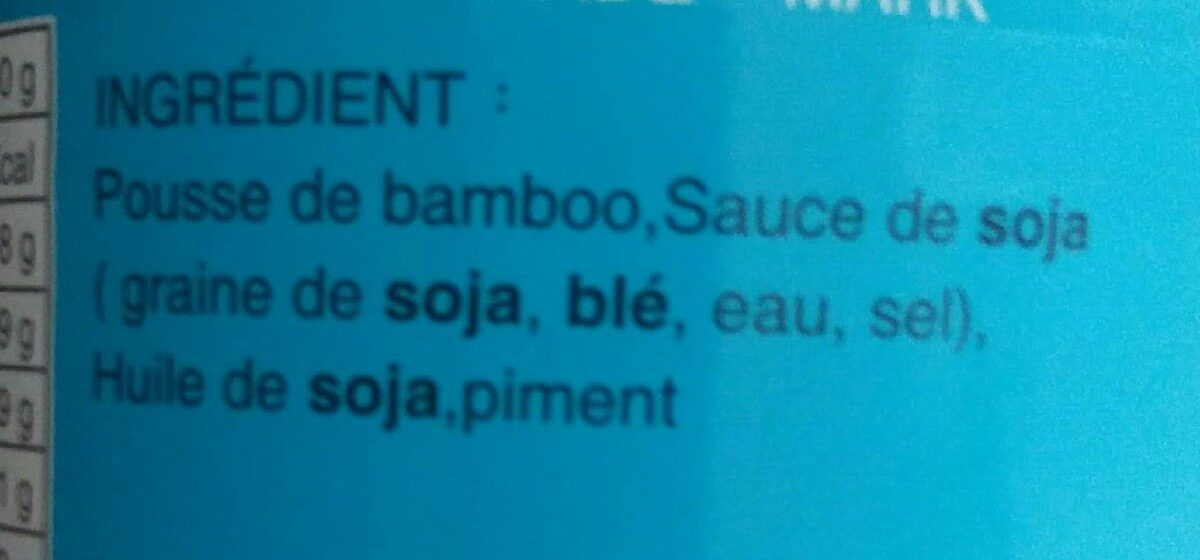 Pousses de bambou  au piment - Ingrediënten