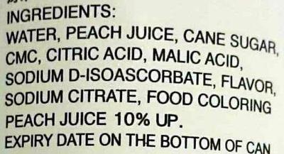 Peach Juice - Ingredients