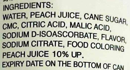 Peach Juice - Ingredients - en