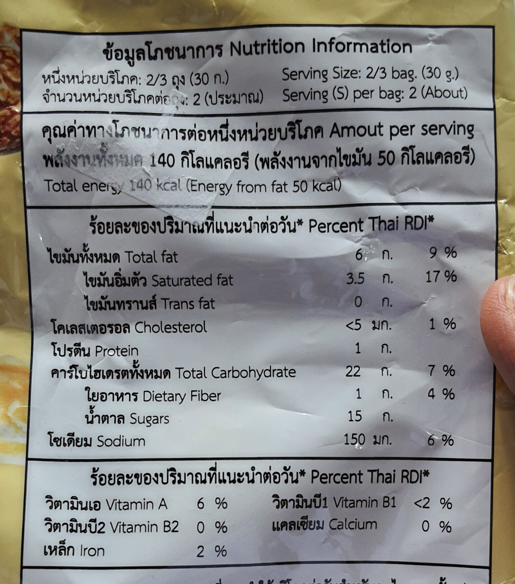 - Informations nutritionnelles - th